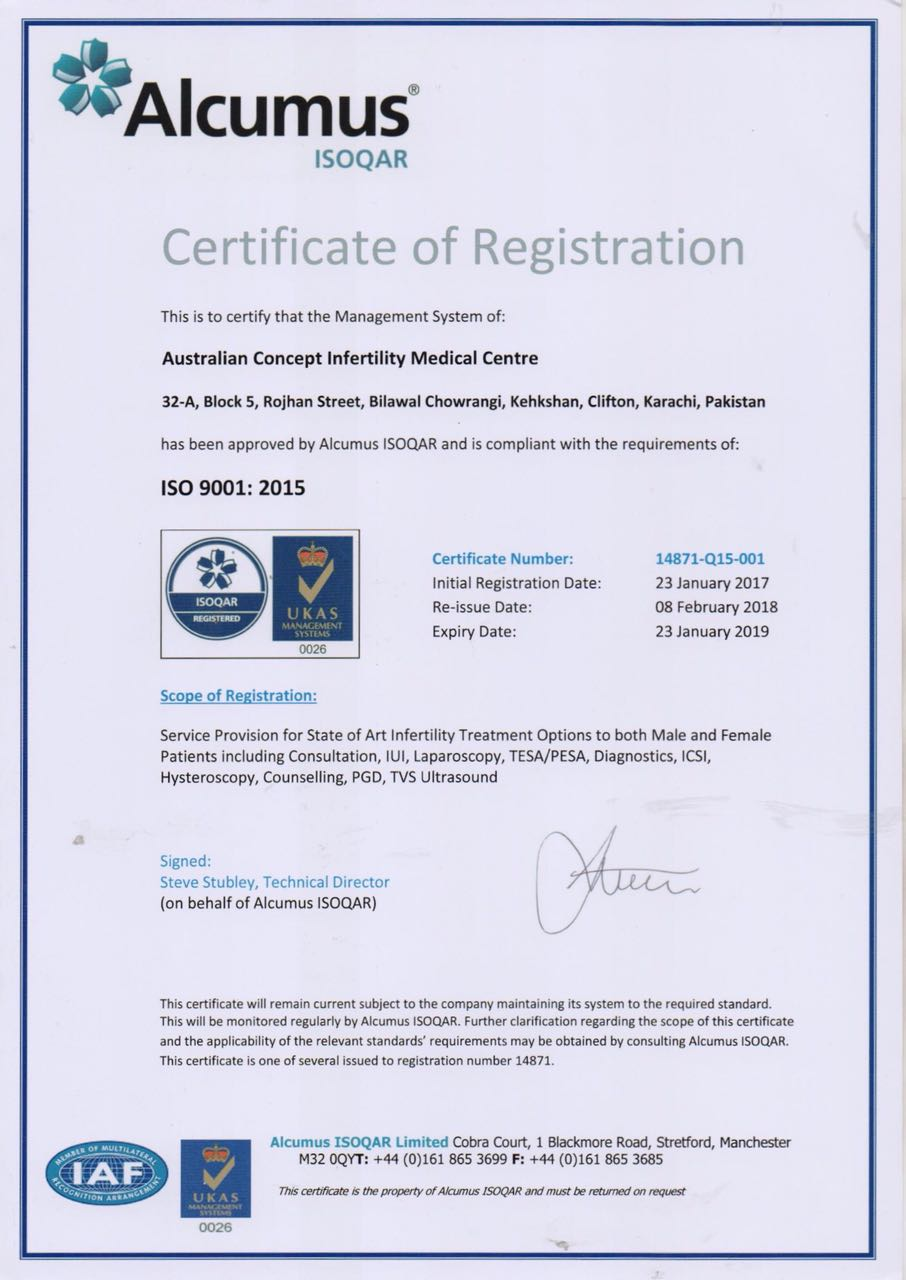Australian Concept Infertility Medical Centre Becomes Pakistan's 1st ISO 9001:2015 Certified IVF Centre